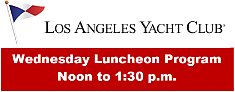 Image of Los Angeles Yacht Club emblem and information about Wednesday luncheons
