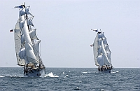 Photos of twin brigantines from Los Angeles Maritime Institute under sail